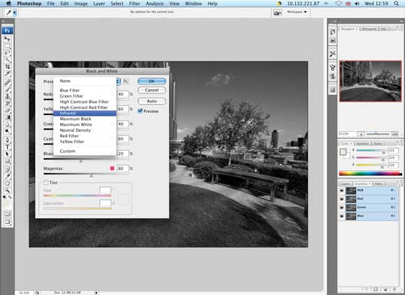 Faking infrared with software - Step Two