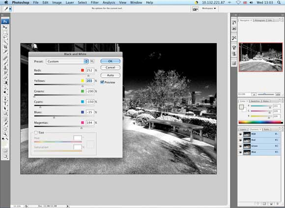 Faking infrared with software - Step Three