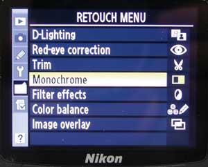 How to Shoot... Black & White - Retouch Menu