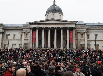 Mass protest in Trafalgar Square