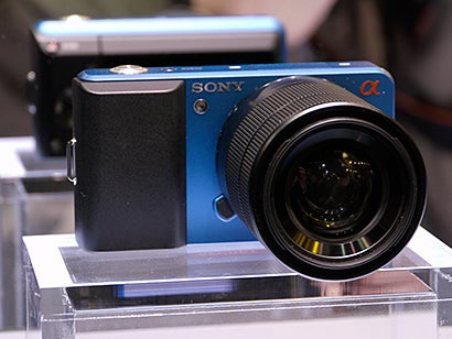 Sony mirrorless Alpha concept - blue