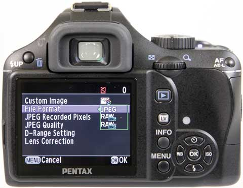 Know Your Camera - Setting Up - Pentax screen