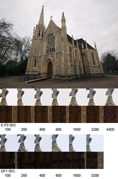 GF1 vs E-P2 ISO sensitivity image noise test