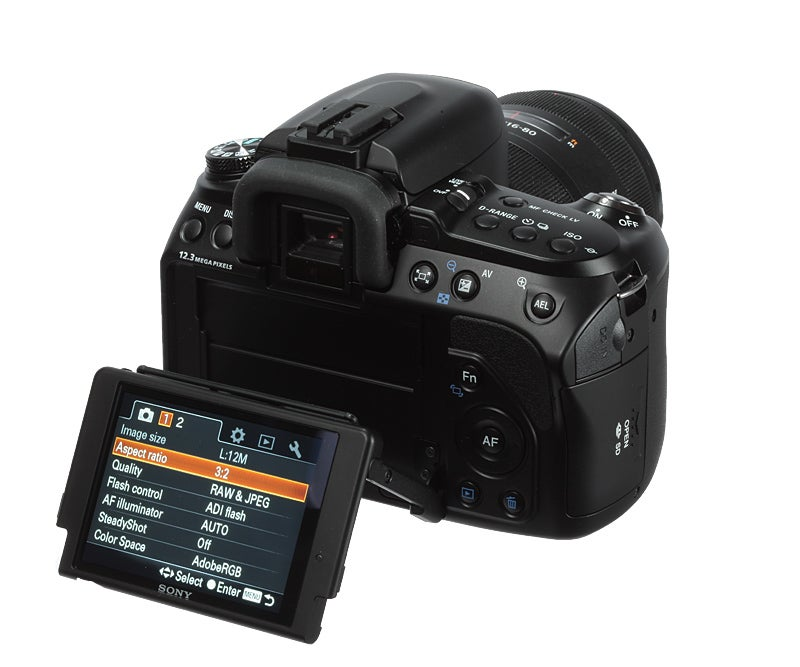 Sony Alpha a500 product shot rear screen tilt angle