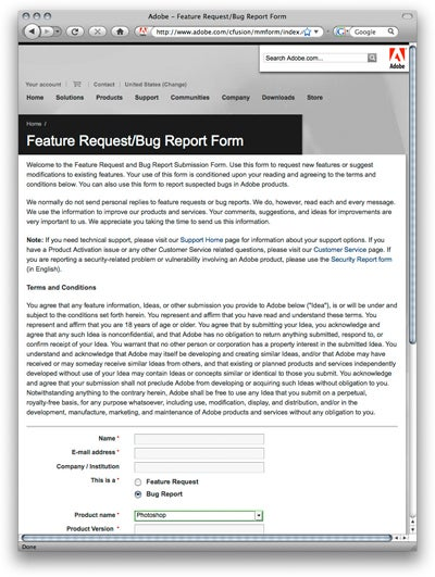 Adobe feature request form