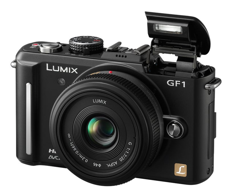 Panasonic Lumix DMC-GF1C product shot with 20mm f/1.7 pancake lens