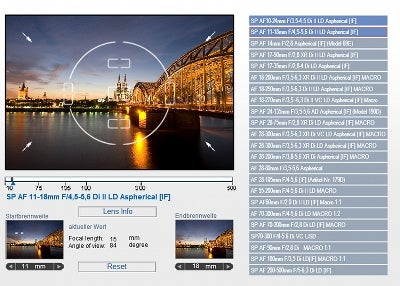 Tamron's lens simulator to show angle-of-view
