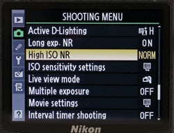 Shooting menu