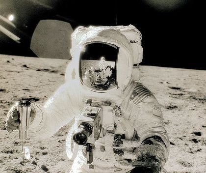 Zeiss lens in use on the Lunar surface