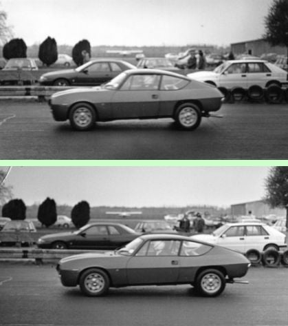 Difference in recorded length of a moving car due to the direction of shutter travel