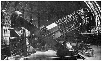 Hooker Telescope at Mount Wilson Observatory, as used by Edwin Hubble.