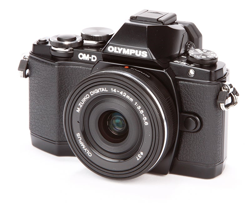 Olympus OM-D E-M10 Review - front angled