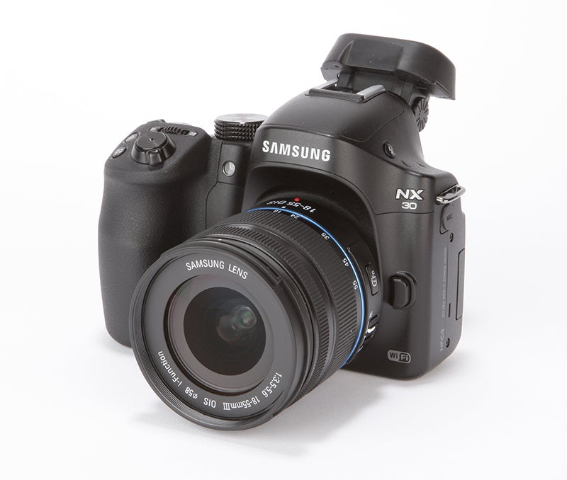 Samsung NX30 Review - front angled