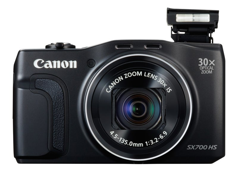 Canon PowerShot SX700 HS Review -  front with flash