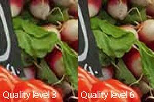 JPEG quality levels