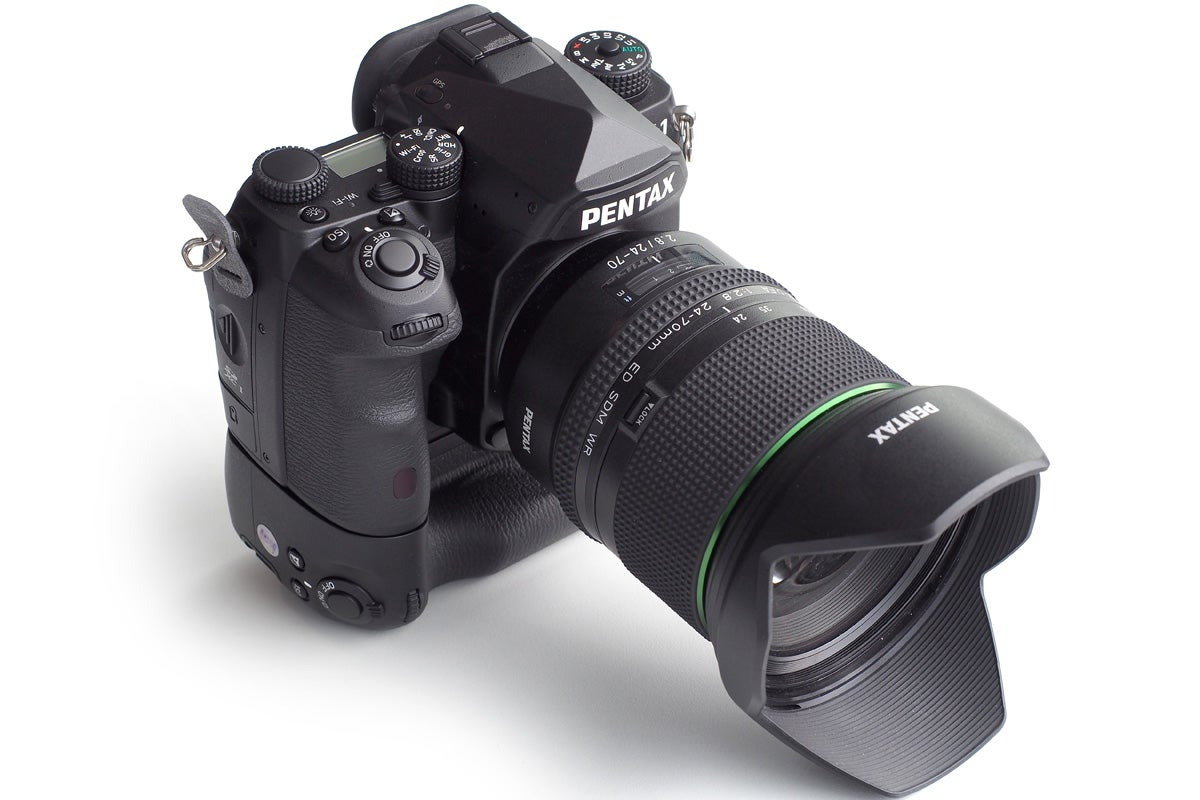 The Pentax K-1 fitted with the 24-70mm f/2.8 zoom and optional vertical grip