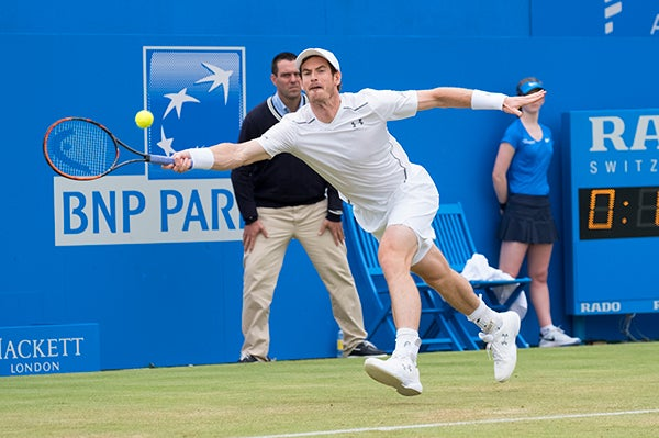 Andy Murray at full stretch. This image was taken by Mark Pain with a Fujifilm X-T2 prototype
